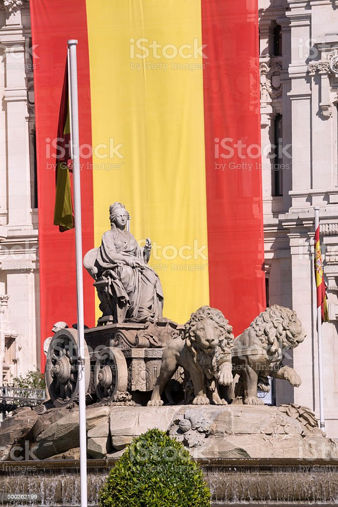 Spanish monument. Fountain of La Cibeles in Madrid (Spain) stock photo