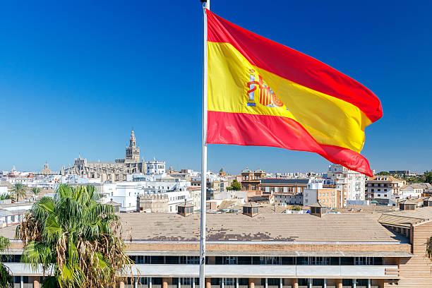 bandera nacional español. - andalusian flag fotografías e imágenes de stock