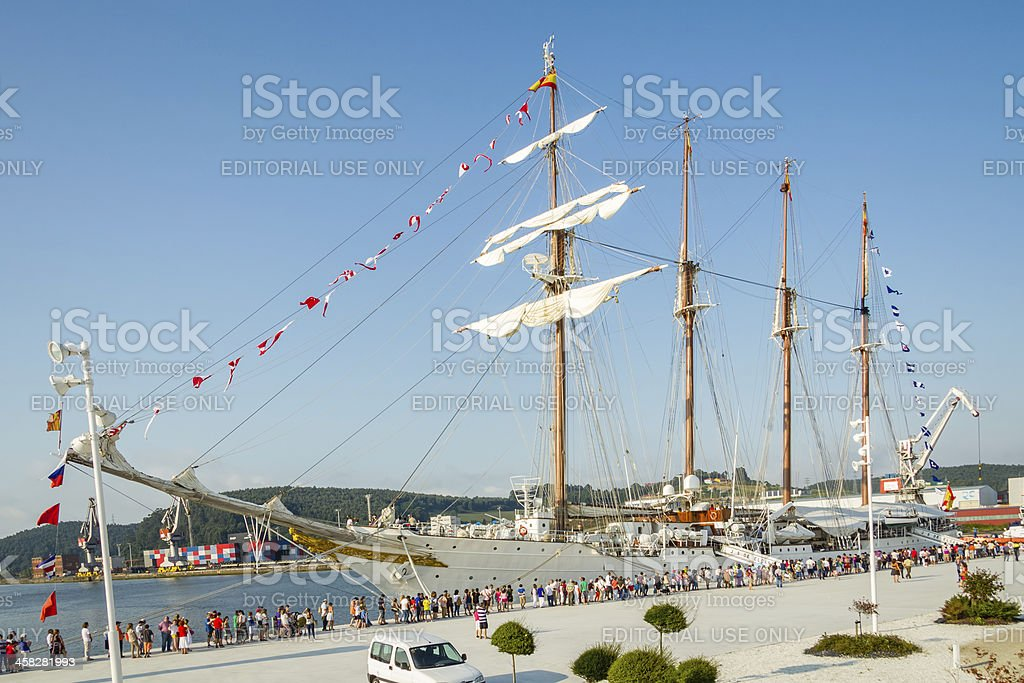 Spanish Navy Ship, Juan Sebastian Elcano, docked in the port royalty-free stock photo