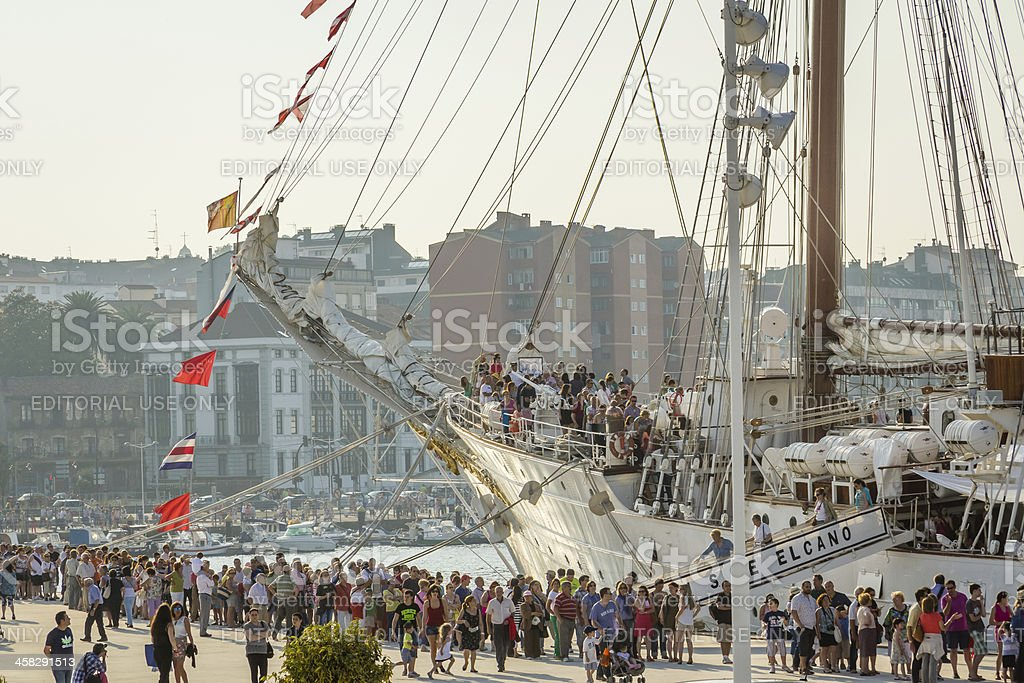 Spanish Navy Ship, Juan Sebastian Elcano, docked in the port royalty-free stock photo