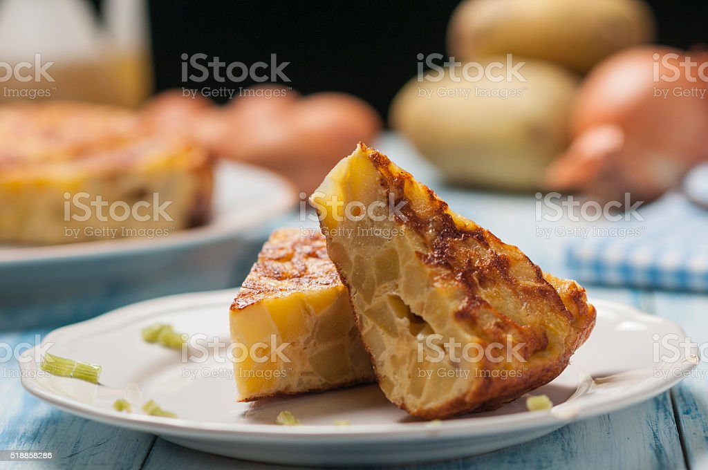 Spanish Omelette eggs and onion stock photo