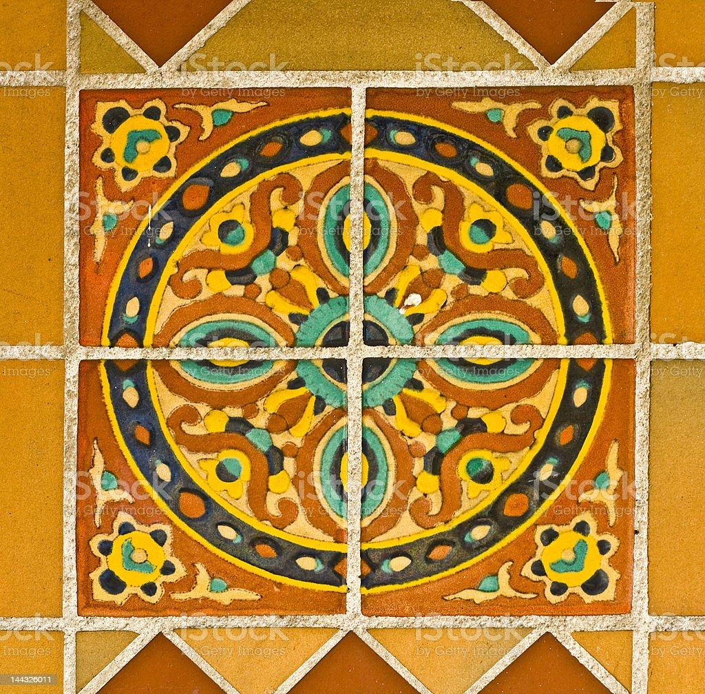 Spanish Painted Tiles Circle Pattern royalty-free stock photo
