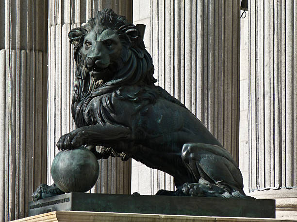Spanish Parliament lion stock photo