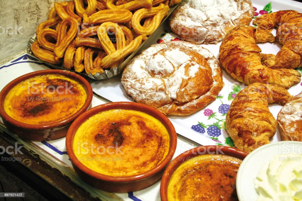 Spanish pastry and desserts stock photo