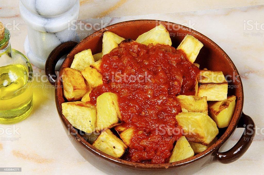 Spanish patatas bravas tapas. stock photo