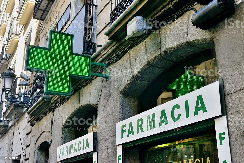 Spanish Pharmacy Sign stock photo