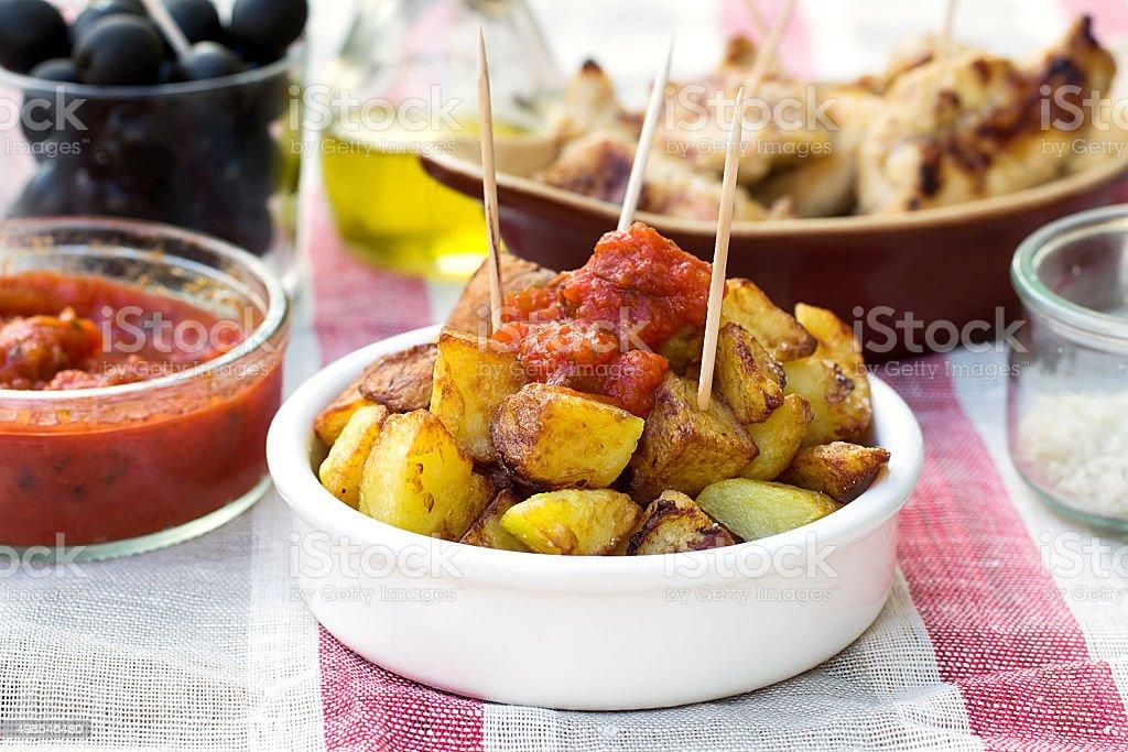 Spanish potatoes patatas bravas for tapas stock photo