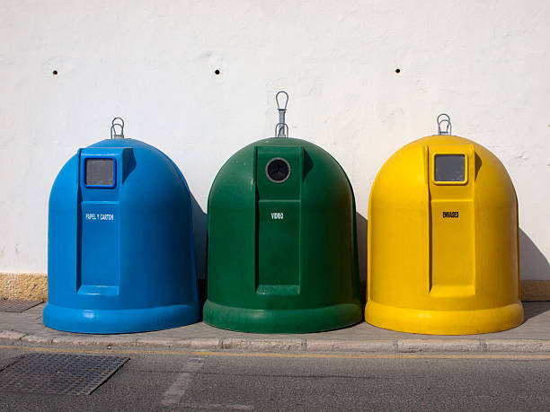 Spanish Recycling Bins stock photo