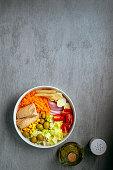 Spanish salad with tuna and fresh vegetables