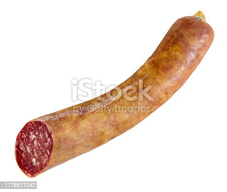 Spanish salchichon sausage, close-up. Isolated over white background