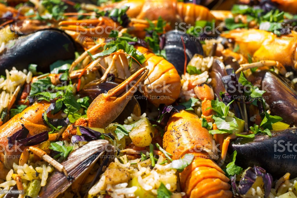 Spanish Seafood Paella with Prawns Mussels and rayfish royalty-free stock photo