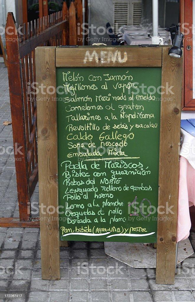 Spanish Sidewalk Cafe Menu  Barcelona royalty-free stock photo
