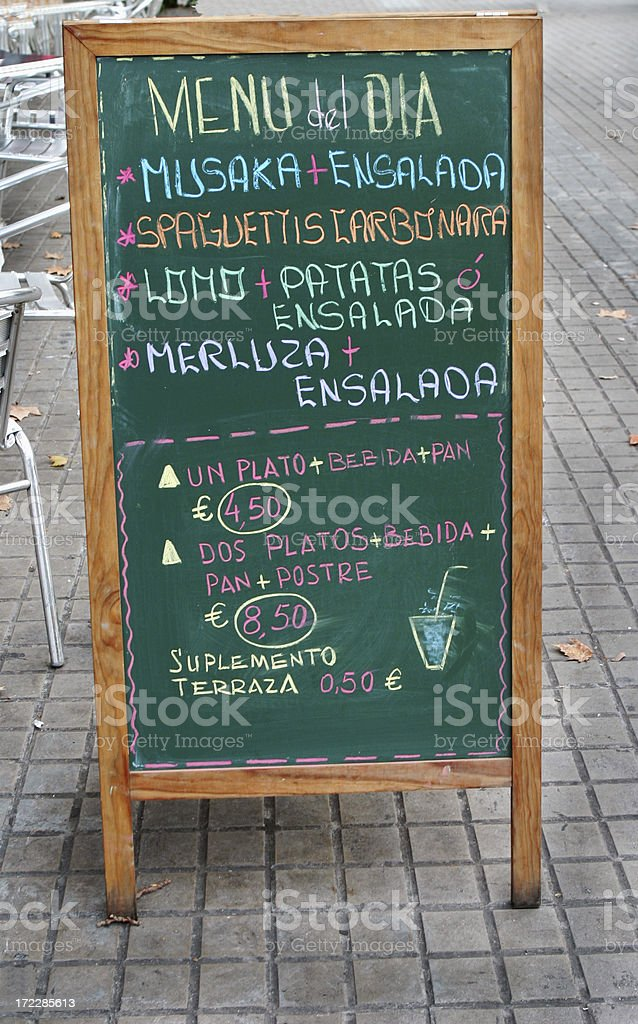 Spanish Sidewalk Cafe Menu Barcelona Spain Stock Photo
