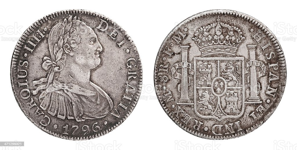 Spanish Silver Doubloon Or Pieces Of Eight Close Up White Stock