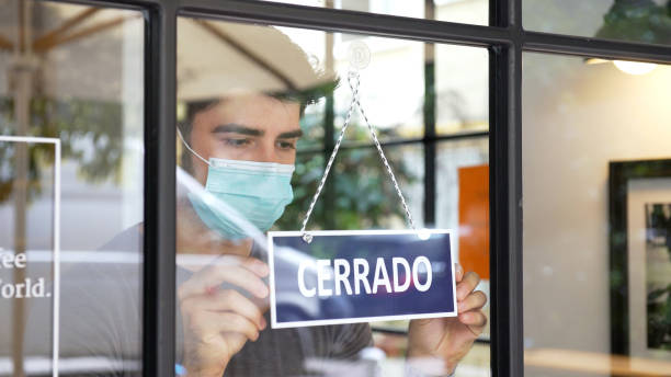 Spanish small business closing during COVID-19 pandemic stock photo