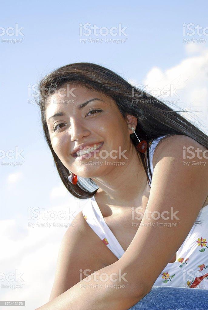 Spanish Smile and Sky stock photo