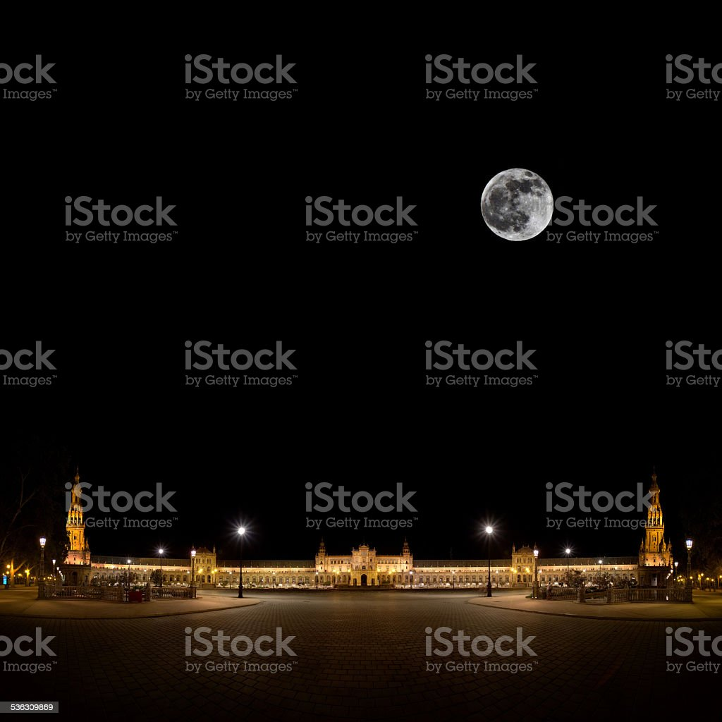 Spanish Square in Sevilla at night, Spain stock photo