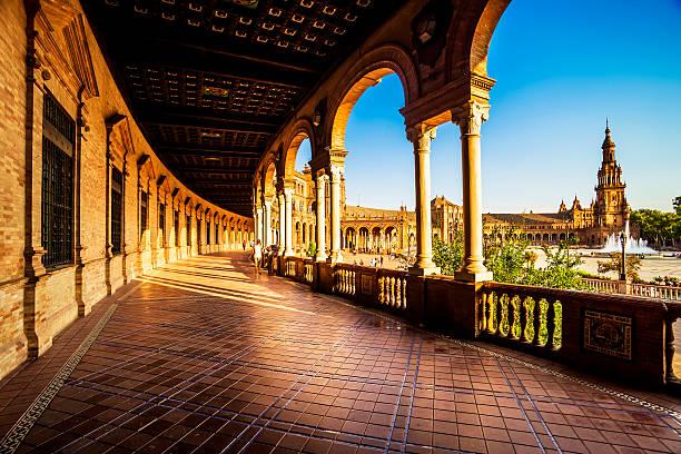 Spanish Plaza) (Plaza de España en Sevilla al atardecer, España. - foto de stock