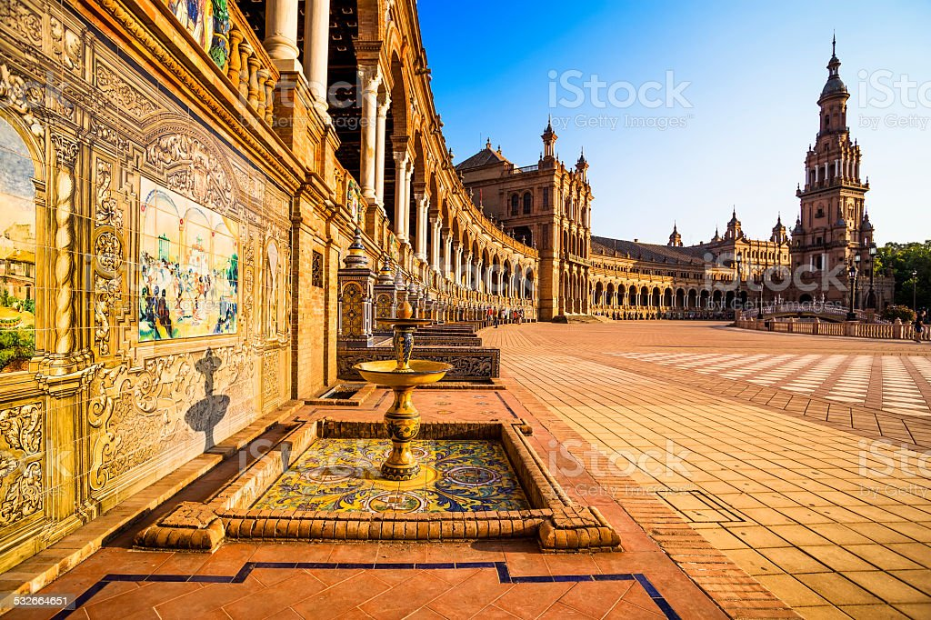 Spanish Square (plaza de españa) in Sevilla. stock photo