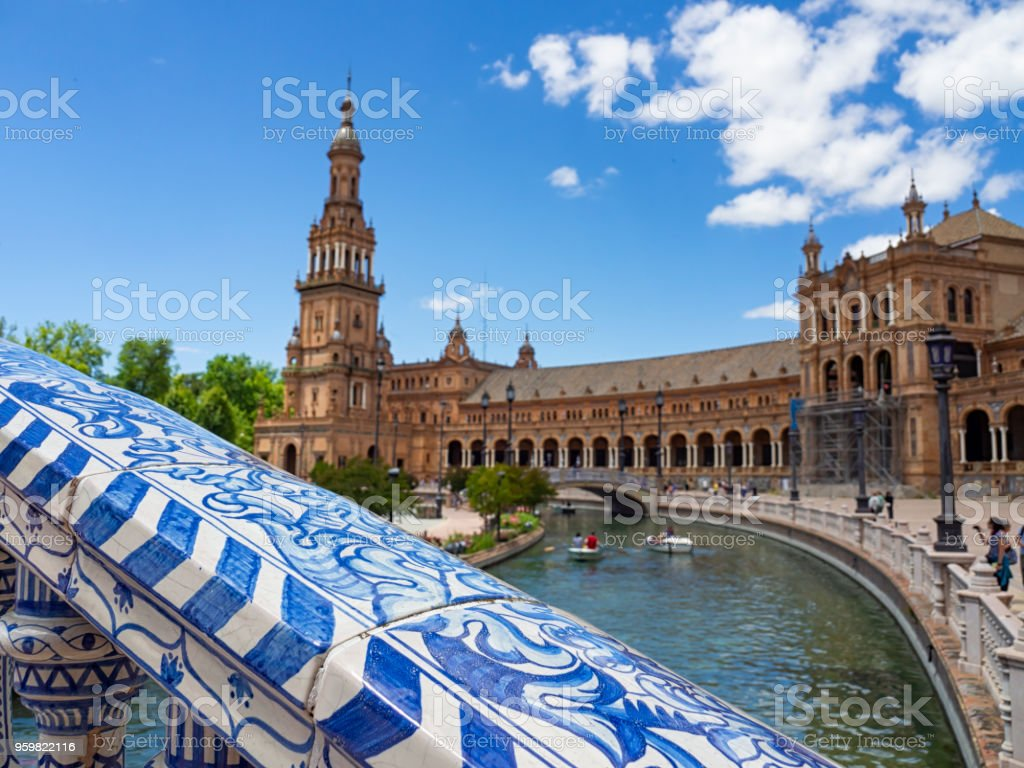 View and details of the Spanish square of Seville