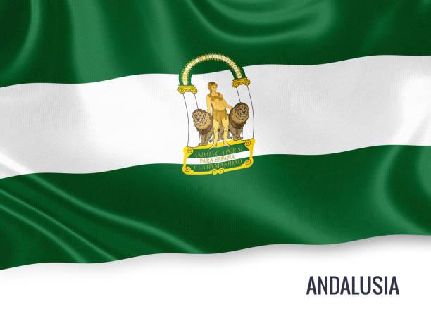 bandera de andalucía ondeando sobre un fondo blanco aislado del estado español. nombre estado es incluido debajo de la bandera. render 3d. - andalusian flag fotografías e imágenes de stock