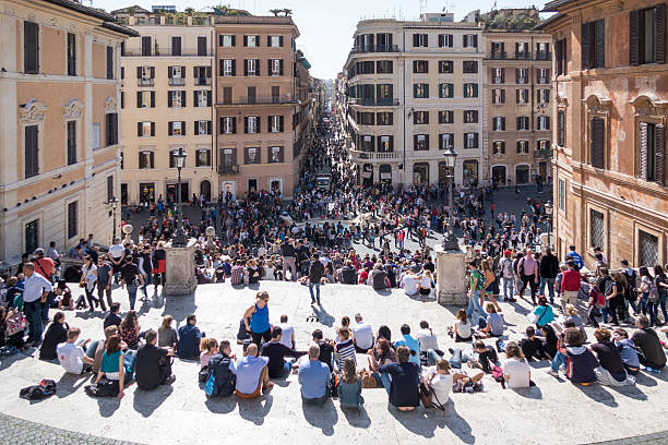 Spanish Steps 1. Scenes from Rome at Easter stock photo