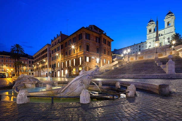 spanish steps and  fontana della barcaccia in rome, italy. - della stock pictures, royalty-free photos & images