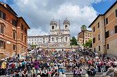 istock Spanish steps and Trinita dei Monti church, Rome, Italy 1021781860
