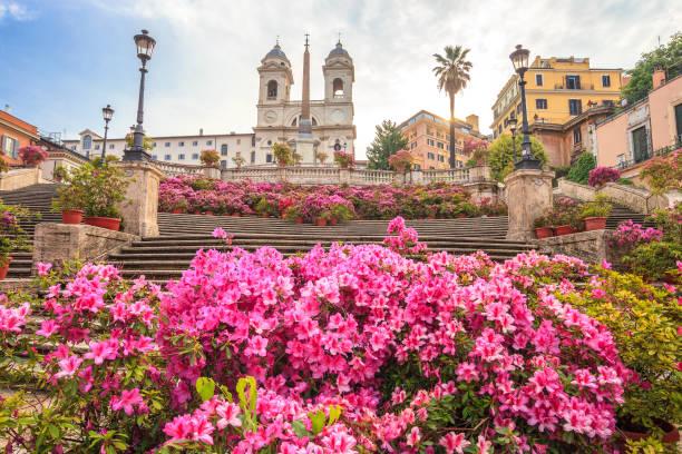 Plaza de España en Trinità Dei monti con azaleas al amanecer, Roma, Italia - foto de stock