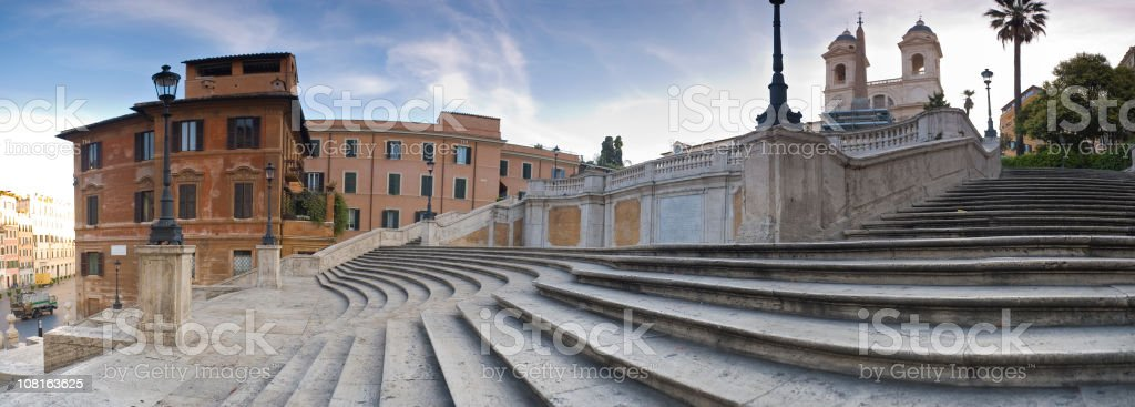 Spanish Steps in Rome at Sunrise stock photo