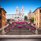 Spanish steps with azaleas at sunrise, Rome, Italy