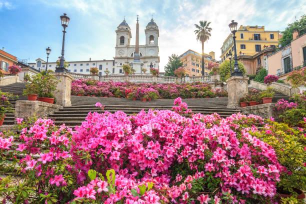 Plaza de España con azaleas al amanecer, Roma - foto de stock