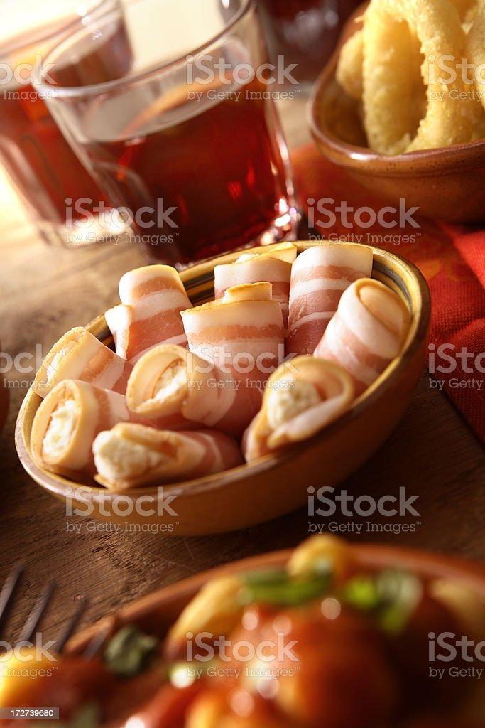 Spanish Stills: Tapas - Cream Cheese in Bacon royalty-free stock photo