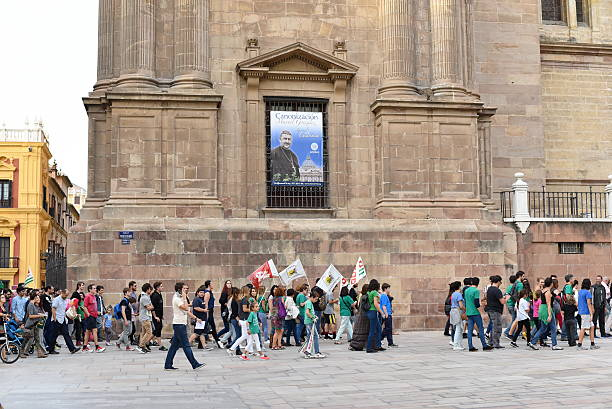 Spanish students, teachers and Parent protest against education cuts stock photo