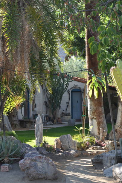 spanish style building with garden - steven harrie stock pictures, royalty-free photos & images