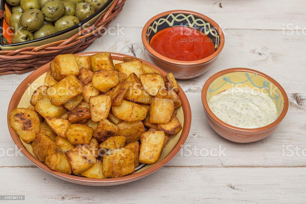 Spanish tapa patatas bravas stock photo