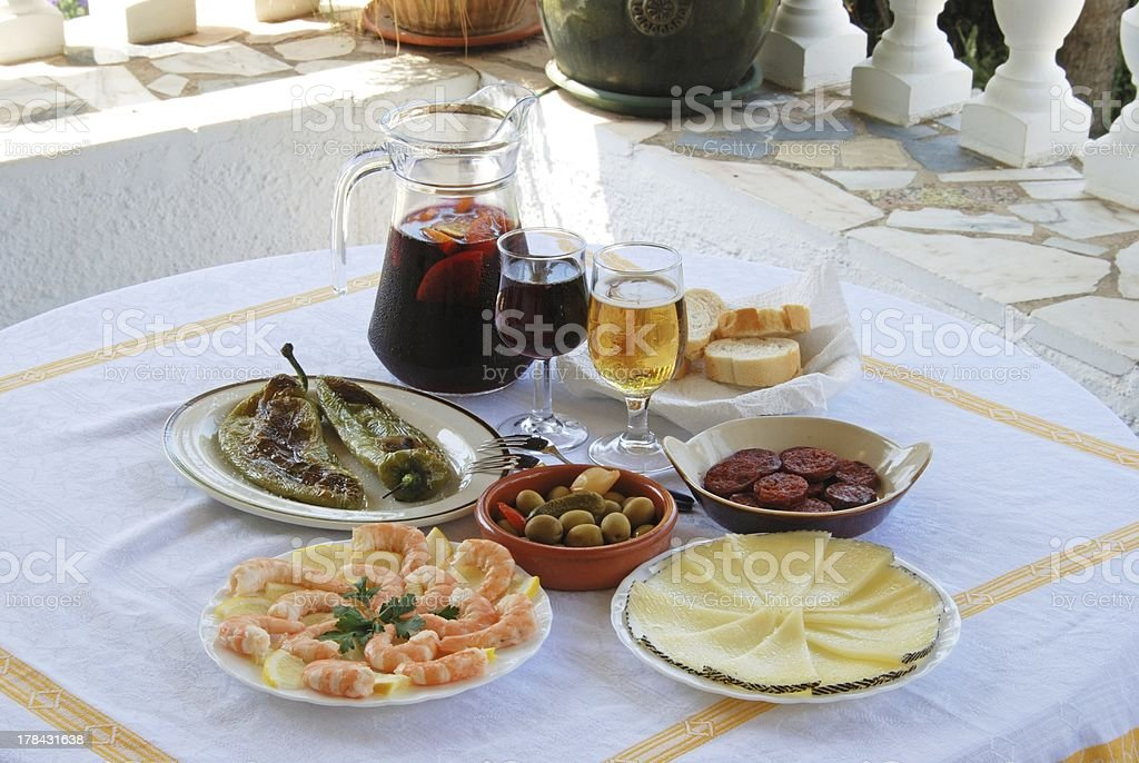 Spanish tapas and sangria selection. royalty-free stock photo
