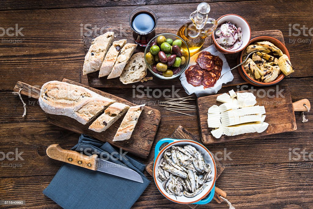 Spanish tapas, bar or street food stock photo
