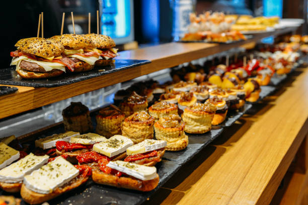 Spanish tapas called pintxos of the Basque country stock photo