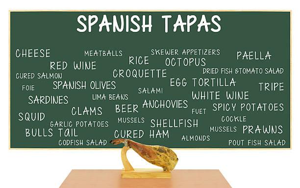 las tapas españolas chalkboard cura jamón (jamon) - fuet sausages fotografías e imágenes de stock