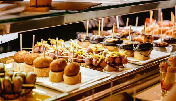 Spanish Tapas Food for sale in restaurant stock photo