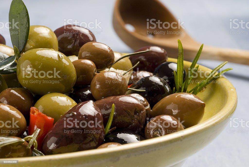 Spanish tapas. Marinated olives. royalty-free stock photo