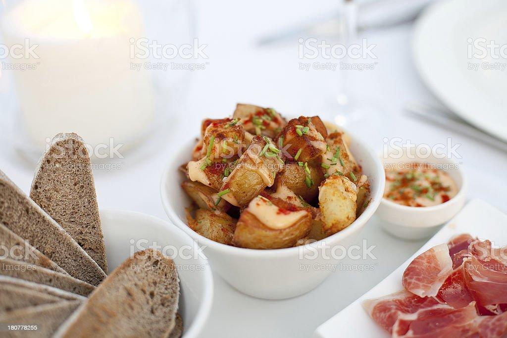 Spanish tapas patatas bravas stock photo