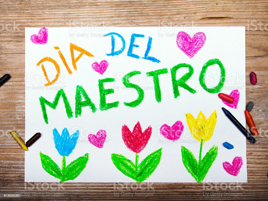 Spanish Teachers Day Card With Words Dia Del Maestro Stock Photo