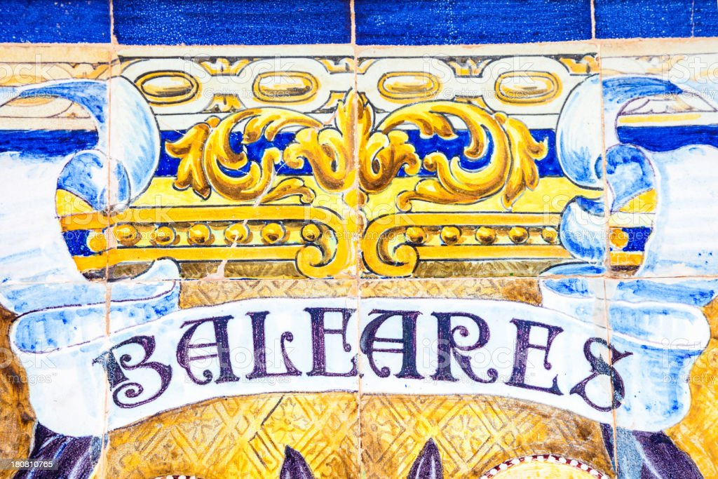 Spanish tiles close-up. Balearic Islands royalty-free stock photo