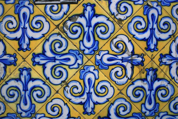 Spanish tiles in blue and yellow stock photo