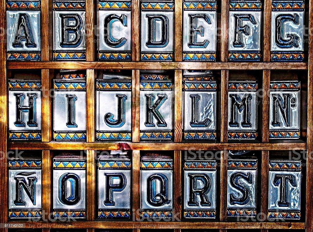 Piastrelle spagnole lettere siviglia spagna fotografie stock e