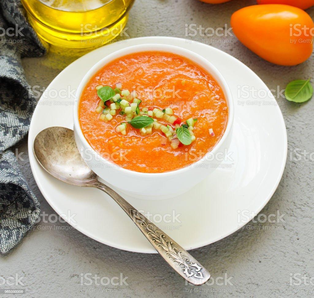 Spanish tomato soup with gazpacho from yellow tomatoes. zbiór zdjęć royalty-free