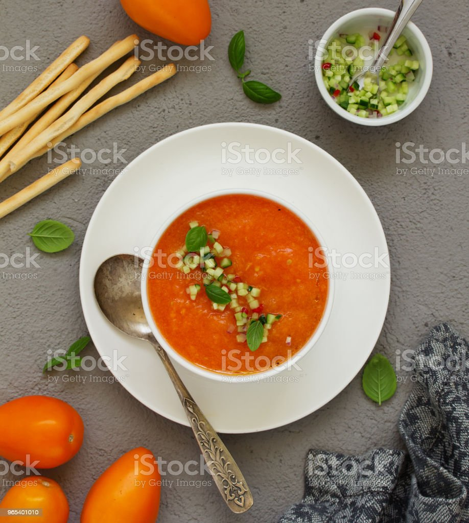 Spanish tomato soup with gazpacho from yellow tomatoes. royalty-free stock photo