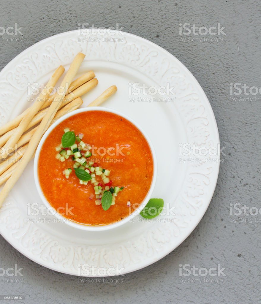 Spanish tomato soup with gazpacho from yellow tomatoes. zbiór zdjęć royalty-free